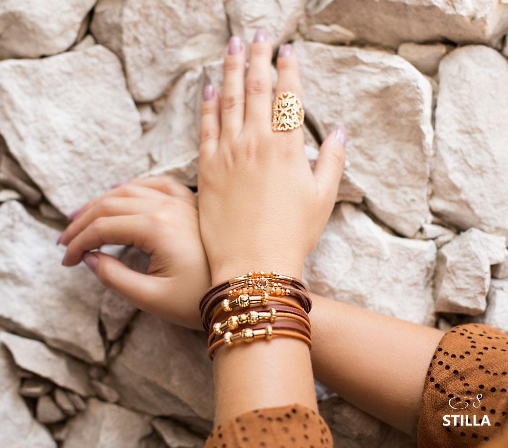 mix de pulseiras stilla semi joias