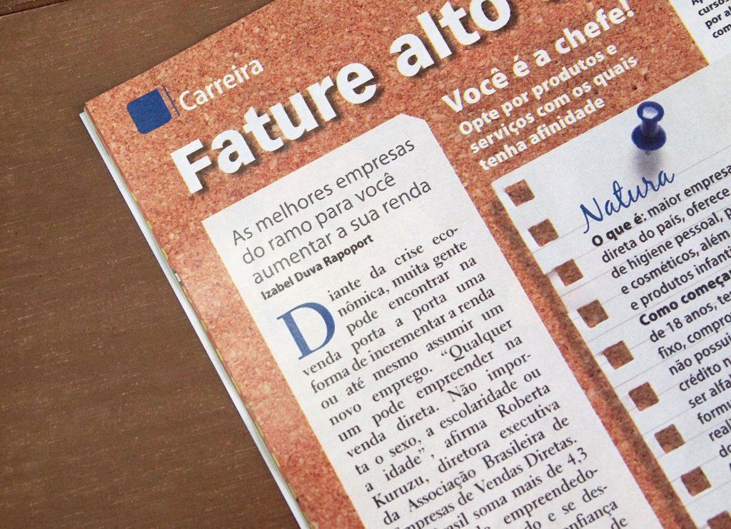 Foto focada na matéria Revista Ana Maria